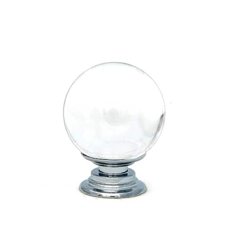 Clear Bubble Round Crystal Glass Knobs, 1.5 inch -Set of 6