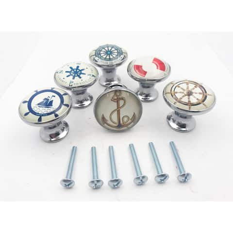 Nautical Boat, Anchor, Ocean Themed Drawer Knobs - Set of 6 Knobs