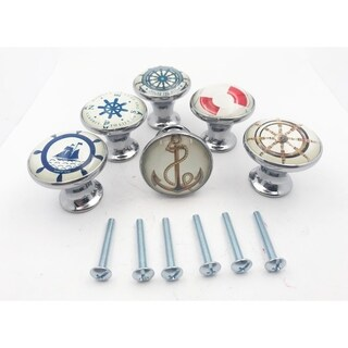 Nautical Boat, Anchor, Ocean Themed Drawer Pulls, Cabinet Pulls, Dresser Knobs - Set of 6 Knobs