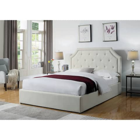 Hermosa Beige Upholstered Bed with Hydraulic Lift Storage
