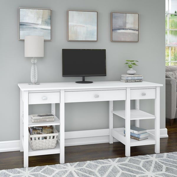 Copper Grove Rustavi 60-inch White Desk with Storage Shelves and Drawers. Opens flyout.