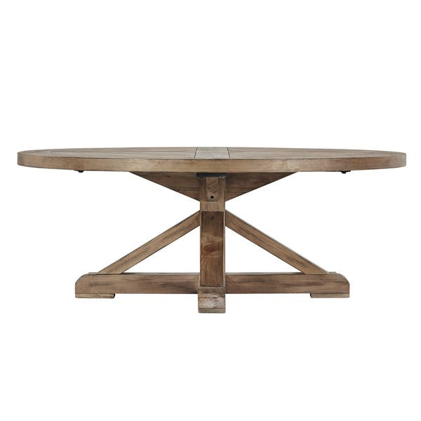 Benchwright Rustic X Base Round Pine Wood Coffee Table By Inspire Q Artisan On Sale Overstock 22044742