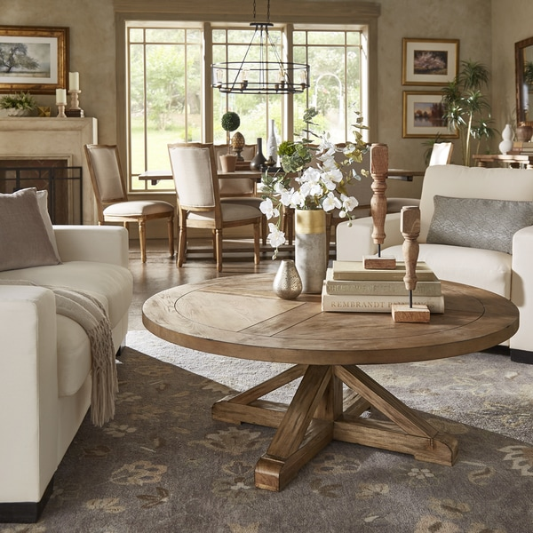 Shop Benchwright Rustic X Base Round Pine Wood Coffee Table By
