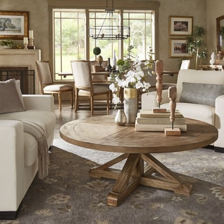 Benchwright Rustic X-Base Round Pine Wood Coffee Table by iNSPIRE Q Artisan