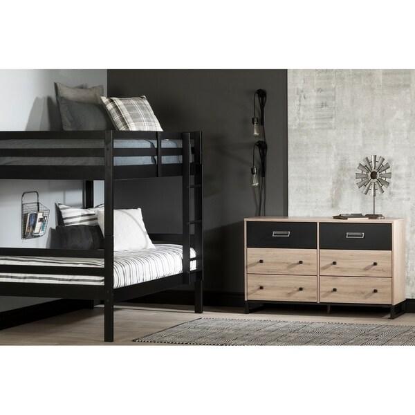 Matte Black South Shore Furniture Induzy Industrial Twin Bunk Beds