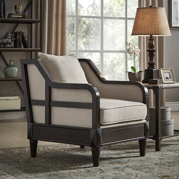 Alisha Ornate Espresso Wood Framed Beige Linen Accent Chair by iNSPIRE Q Classic