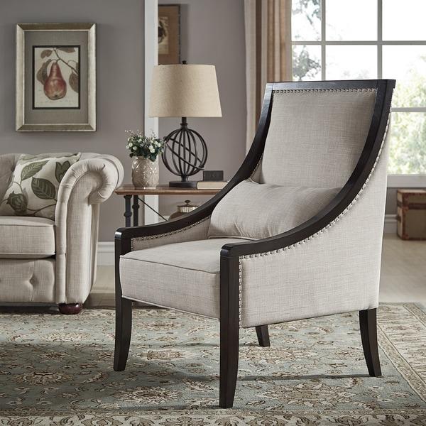 Small Framed Accent Chair For Bedroom: Shop Francis Espresso Wood Framed Beige Linen Sloped Arm