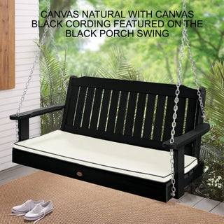Lehigh Sunbrella Corded Outdoor Porch Swing Cushion - 47 in w x 18 in d (Option: canvas natural with canvas black cording)