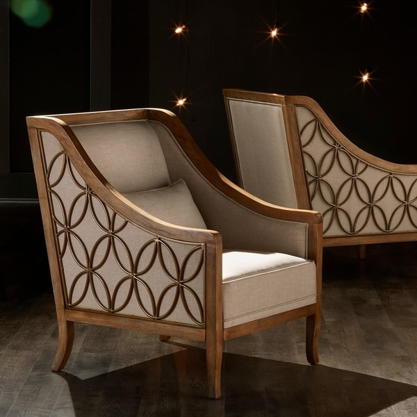 Leroy Exposed Wood Beige Linen Sloped Arm Trellis Accent Chair by iNSPIRE Q Artisan