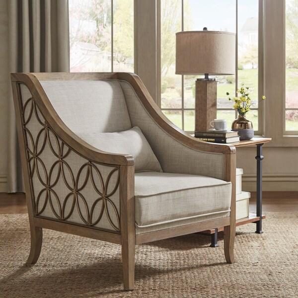 Shop Leroy Exposed Wood Beige Linen Sloped Arm Trellis Accent Chair