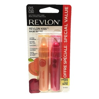 Revlon Kiss Balm Lip Balm, #015 Juicy Peach + #030 Sweet Cherry