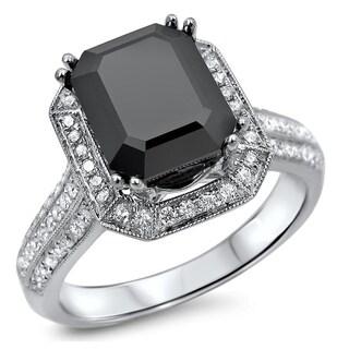 Noori 14k White Gold 3ct TDW Certified Emerald-cut Black Diamond Engagement Ring
