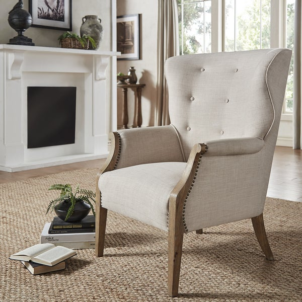 Accent Chairs Wingback.Shop Constantine Exposed Wood Tufted Beige Linen Wingback Accent