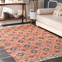 nuLoom Orange Handmade Contemporary Flat Lozenge Tassel Area Rug - 5' x 8'
