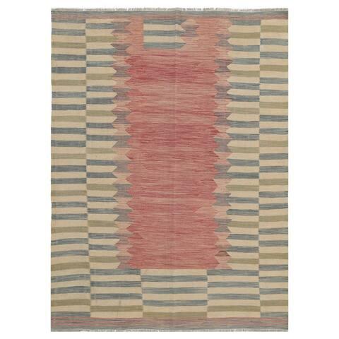 Handmade One-of-a-Kind Wool Kilim (Afghanistan) - 5'2 x 7'4
