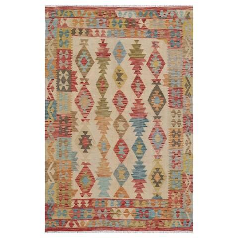 Handmade One-of-a-Kind Wool Kilim (Afghanistan) - 5'6 x 8'