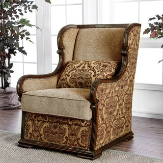 Furniture of America Jaye Traditional Wood Chenille Accent Chair