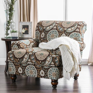 Furniture of America Catani Floral Medallion Accent Chair