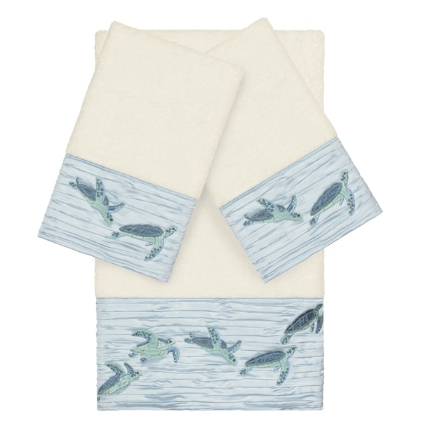 Authentic Hotel and Spa Turkish Cotton Turtles Embroidered Cream 3-piece Towel Set