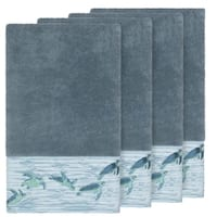 Authentic Hotel and Spa Turkish Cotton Turtles Embroidered Teal Blue 4-piece Bath Towel Set