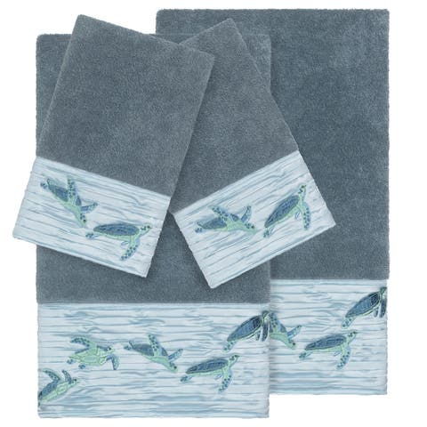 Authentic Hotel and Spa Turkish Cotton Turtles Embroidered Teal Blue 4-piece Towel Set