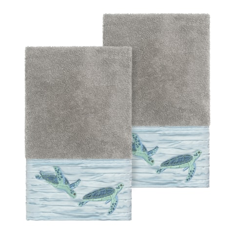 Authentic Hotel and Spa Turkish Cotton Turtles Embroidered Dark Grey 2-piece Towel Hand Set