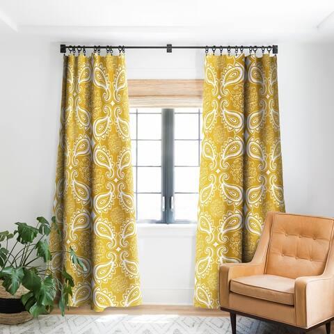 Heather Dutton Plush Paisley Goldenrod Blackout Curtain Panel