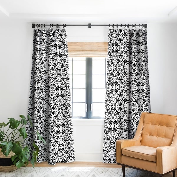Shop Rosie Brown Black On White Blackout Curtain Panel
