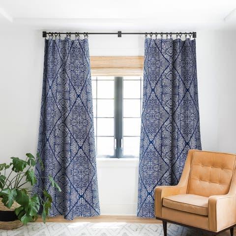 Marta Barragan Camarasa Indigo of Geometric Shapes of Watercolor Blackout Curtain Panel