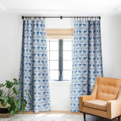 Jacqueline Maldonado Elephant Damask Watercolor Blue Blackout Curtain Panel