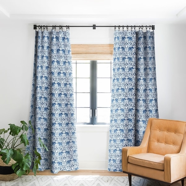 Jacqueline Maldonado Elephant Damask Watercolor Blue Blackout Curtain Panel 84' Inches (As Is Item). Opens flyout.