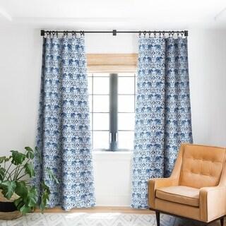 Jacqueline Maldonado Elephant Damask Watercolor Blue Blackout Curtain Panel