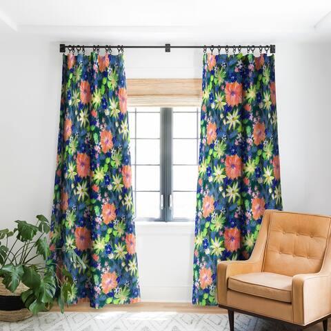 Schatzi Brown Elizabeth Floral Green Blackout Curtain Panel