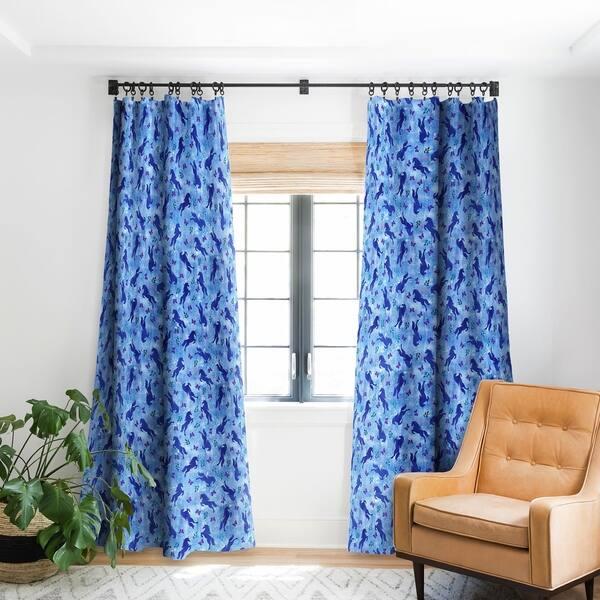 Schatzi Brown Unicorn Toss Light Blue Blackout Curtain Panel