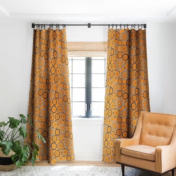 Sharon Turner Bike Wheels Amber Blackout Curtain Panel. Opens flyout.