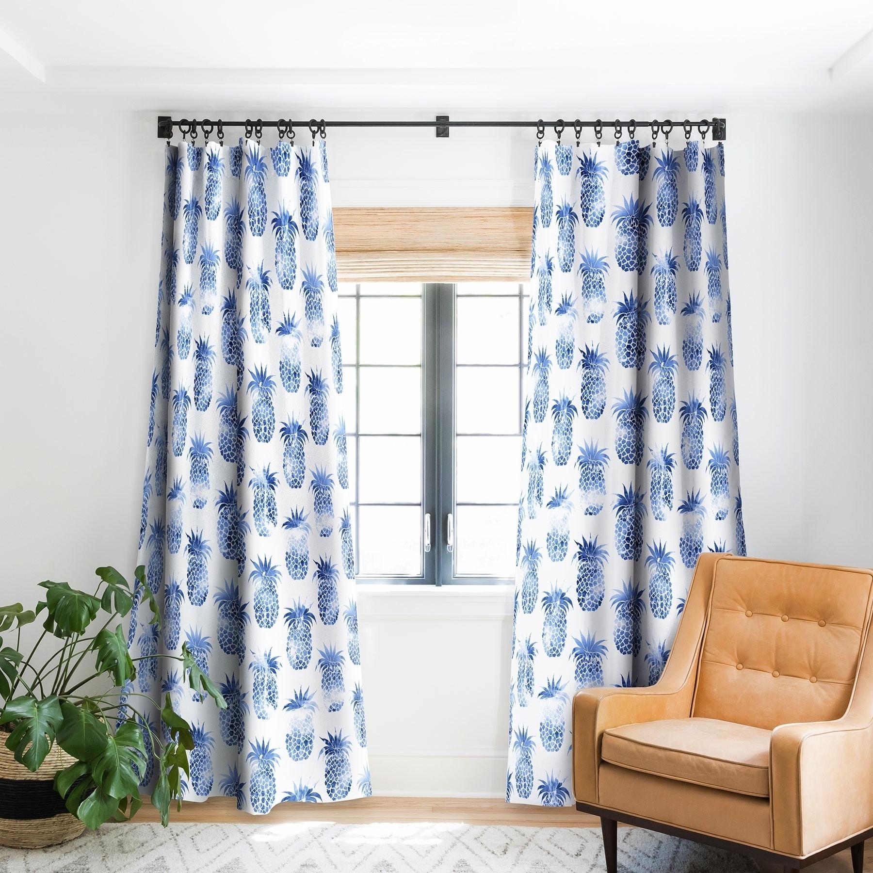 Schatzi Brown Pineles Blue Blackout Curtain Panel