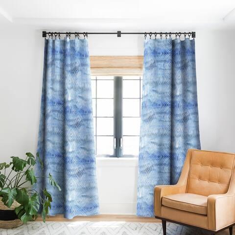 Schatzi Brown Drawn Diamond Chambray Blackout Curtain Panel
