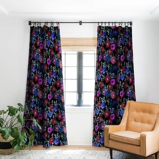 Schatzi Brown Gillian Floral Black Blackout Curtain Panel - 84 Inches - (As Is Item)