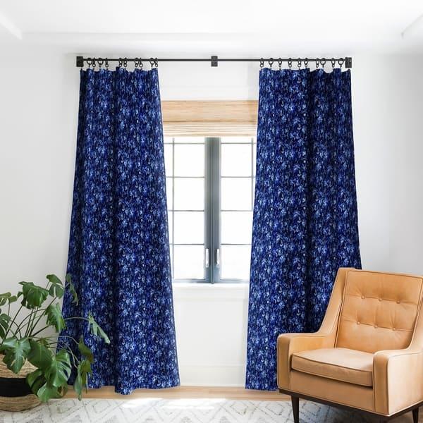 Schatzi Brown Lovely Fl Dark Blue Blackout Curtain Panel