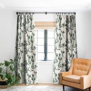 Holli Zollinger Olive Bloom Blackout Curtain Panel