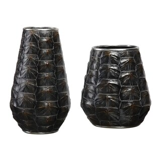 Uttermost Kapil Dark Brown Tortoise Shell Vases (Set of 2)