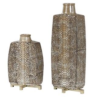 Uttermost Reptila Rust Brown Textured Ceramic Vases (Set of 2)