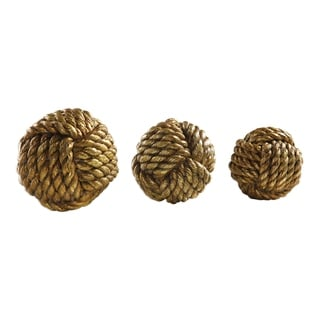 Uttermost Tali Antiqued Metallic Gold Rope Spheres (Set of 3)