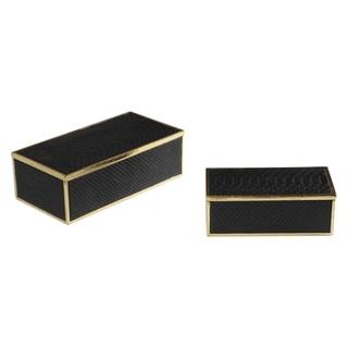 Uttermost Ukti Black Alligator Boxes (Set of 2)