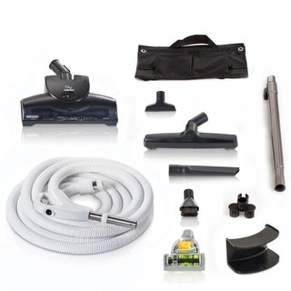 Universal Central Vacuum Kit with Turbo Nozzles & 35ft Hose by GV - White