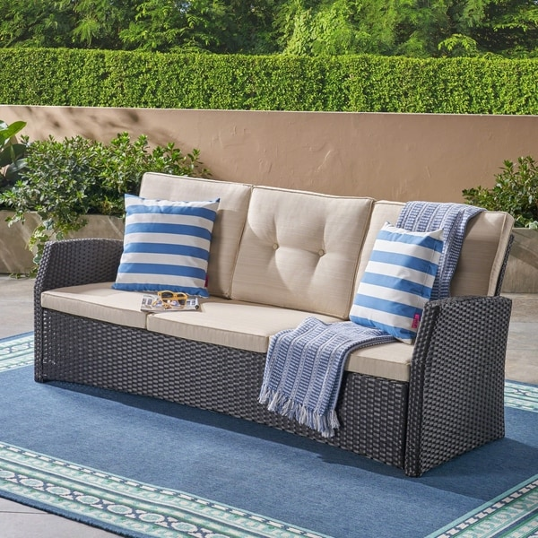 Sanger Outdoor 3 Seater Wicker Sofa by Christopher Knight Home. Opens flyout.