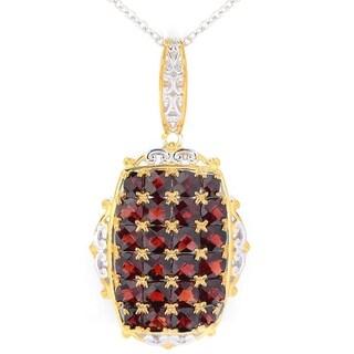 Michael Valitutti Palladium Silver Mozambique Garnet Cluster Pendant w/ Chain - Red