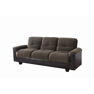 Chocolate and Brown Fully Upholstered Sofa Bed