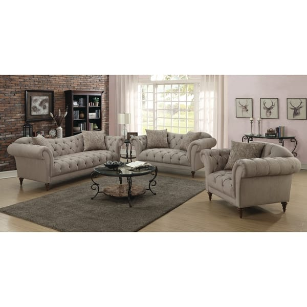 Miraculous Shop Alasdair Traditional Light Brown Sofa 91 X 37 X Caraccident5 Cool Chair Designs And Ideas Caraccident5Info