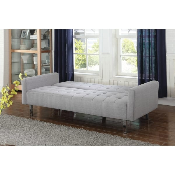 Stupendous Shop Transitional Light Grey Tufted Sofa Bed 79 50 X Gamerscity Chair Design For Home Gamerscityorg